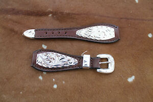 Western Cowboy Mens Leather Watch Band Silver Belted Rodeo Dress Casual Buckle