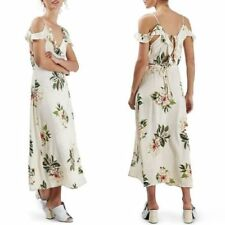 Topshop Ivory Cream Floral Cold Shoulder Frill Midi Dress - Size 10