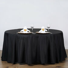"""BLACK 120"""" ROUND POLYESTER TABLECLOTH Seamless Wedding Table Linens Dinner SALE"""