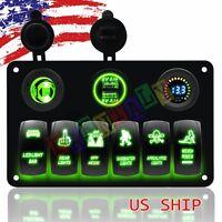 Car Marine Boat 6-Gang Waterproof Circuit Blue LED Rocker Switch Panel Breakers