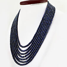 BEST 7 STRAND 836.60 CTS NATURAL RICH BLUE SAPPHIRE ROUND CUT BEADS NECKLACE