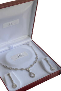 White gold finish pear cut created diamond necklace earrings Gift Boxed Freepost