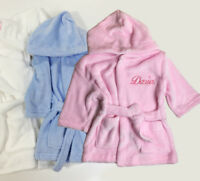 Embroidered Personalised Baby Bath Robe Dressing Gown Boy Girl Gift Crown Soft