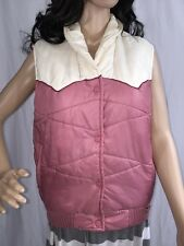 Authentic 80s Puffer Vest Medium Pink White Chevron Stitch Snow Bunny Style
