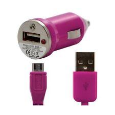 Chargeur voiture allume cigare USB + Cable data couleur rose fushia pour Apple
