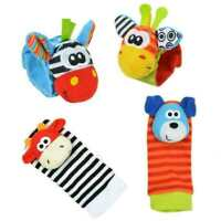 Bundle Activity Cute Socks & Wrist Rattles Safe Soft Infant Baby Toy M3X9 B W4P8