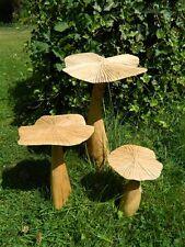 Wooden Mushroom Toadstool Carving - Set of 3 Flat Mushrooms 35/25/20cm approx