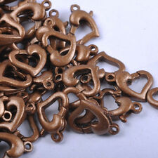 Gold & SILVER PLATED, Copper, Bronze, Metal Heart Lobster Clasps Hooks 12X9MM