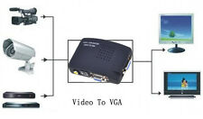 TV RCA Composite S-Video AV In To PC Mac VGA Lcd Out Converter Adapter Box Black