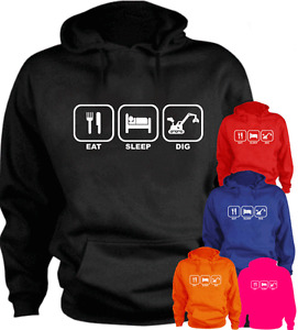 EAT SLEEP DIG Digger New Funny Hoodie Gift Present