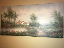 English Cottage Garden Original Painting By MARTEN