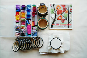 Job Lot of Embroidery Supplies 3 inch hoops, Threads, Fabric and Book