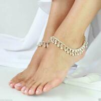 925 Silver Gold Gypsy Indian Bell Charm Ankle Bracelet Anklet foot Chain Belly