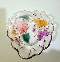 Studio Nova Crystal HIBISCUS Floral Glass Salad/Fruit Serving Bowl Set