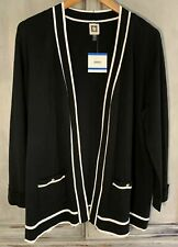 NWT Anne Klein Black Cardigan Open Sweater Sz XL $89
