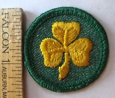 Vintage Girl Scout 1955-60 2nd SECOND CLASS BADGE Yellow Gold Clover Patch Award