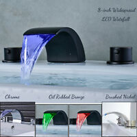 LED Dual Handles Waterfall Spout Widespread Bathroom Sink Faucet 8'' Mixer Tap