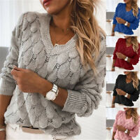 Women Knitted Hollow Out Sweater V-neck Long Sleeve Jumper Pullover Tops Solid