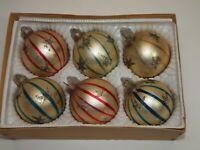 Vintage Glass Xmas Ornaments Set 6 SHINY BRITE Lanissa Satin Ball Stripe Glitter