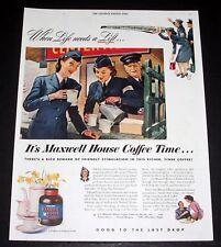 1944 WWII MAGAZINE PRINT AD, MAXWELL HOUSE COFFEE FOR FRIENDLY STIMULATION, ART!