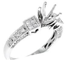 VS1 Diamond Ring Semi Mount 0.58ct 18k White Gold Engagement Heart