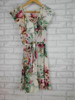 Binny A-line dress Cream, pink, green floral print 100% silk Sz 10 V-neck