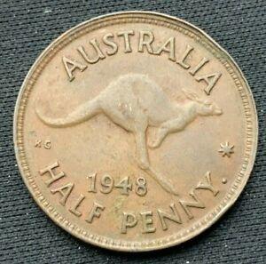 1948 Australia  Half Penny Coin XF+  Bronze   #K867