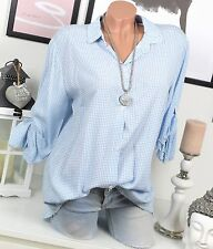 Hemd KARIERT Bluse VINTAGE Fischerhemd SHIRT Blau Weiß Oversize KARO 36 38 40