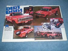 "1982 Roger Mears Jeep Honcho Off-Road Desert Racer Vintage Article ""Dirt Rod!"""