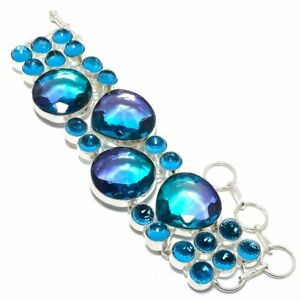 Bi-Color Tourmaline, Blue Topaz 925 Sterling Silver Bracelet 7-8""
