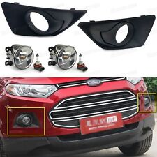 2x Front Fog Lights Lamp, 2x Cover Grille for Ford EcoSport 2013-2016 14 15 b