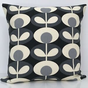 Grey Orla Kiely Cushion Cover Reversible Oval Flower Stem Scandinavian Fabric
