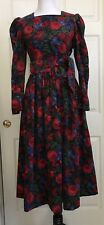 VTG 80s Laura Ashley Corduroy Victorian Red Floral Prairie Dress Wide Belt US 6