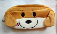 Bn Large Plush Pencil Case Purse Make up Bag - Brown Dog