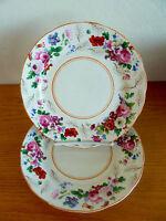 "Copelands Grosvenor China  2 Salad/Dessert Plates  Rose Poppy Bluebell  8 1/8"""