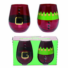 Trousers Rosy Red 22 ounce Glass Christmas Stemless Wine Glasses Set of 2