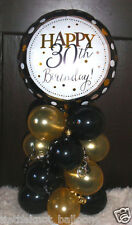 "18"" FOIL BALLOON  TABLE DECORATION DISPLAY HAPPY 30TH BIRTHDAY GOLD & BLACK 30"