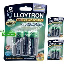 6 x Lloytron D Size 3000 mAh NiMH Rechargeable Batteries LR20 HR20 DC1300 ACCU