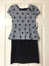 "NEW ""GRAY POLKA-DOT"" Poplin Dress Girls Clothes 12 Boutique Summer Fall Winter"