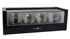 Black Quad 4 Four Automatic Watch Winder Storage Wood Display Case Pangaea Q480