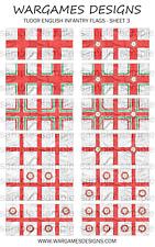 Bandiere 15mm-FANTERIA INGLESE TUDOR-FOGLIO 3-LUCCIO & SHOTTE, Barocco, DBR