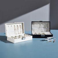 Leather Jewelry Box Organizer Portable Travel Jewellery Ornaments Case Storage U