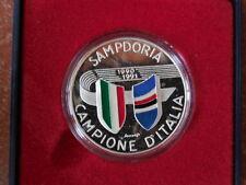 Calcio medaglia in argento della zecca Sampdoria campione d'Italia 1990-91