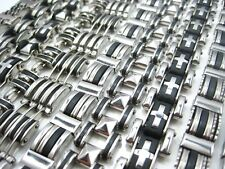 new 10pcs silver mixed lot solid stainless steel cuff mens jewellery bracelets