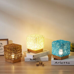Hand-Knit Dimmable LED Desk Light Wood Rattan USB Table Lamp Night Lamp Shed