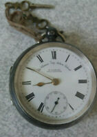 ANTIQUE STERLING SILVER POCKET WATCH -THE  CLIMAX TRIP ACTION - H SAMUEL -1909