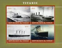 Congo 2018 CTO Titanic 4v M/S I Ships Boats Nautical Stamps