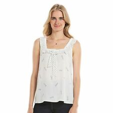 LAUREN CONRAD Women's Disney MINNIE MICKEY Ivory Chiffon Bow Front Tank Top XS