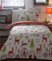 Lovely Christmas Bedding Double Duvet Set MIDWINTER Christmas Trees Reindeers