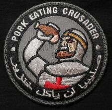 PORK EATING CRUSADER ISAF INFIDEL ARMY OPS SWAT VELCRO® BRAND FASTENER PATCH
